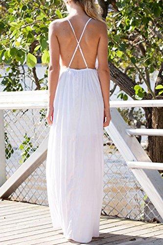 Beach White V Vestito Top Party A Scollo Donne Diviso Scollato Maxi w8RFB