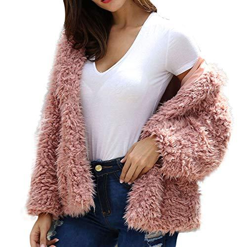 AOJIAN Women Jacket Long Sleeve Outwear Pure Color Open Front Plush Fuzzy Hooded Outerwear Coat Pink