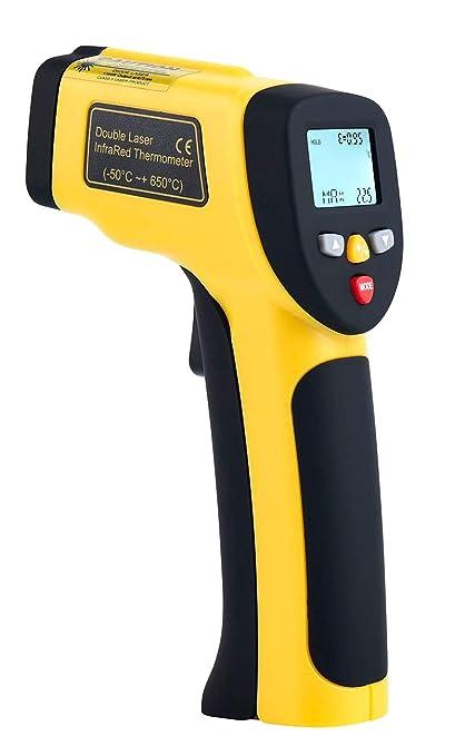 Komerci Ht 818 Dual Laser Infrarot Thermometer Pyrometer Distanz 12 1 Bis 850 C Gelb Grau Gewerbe Industrie Wissenschaft