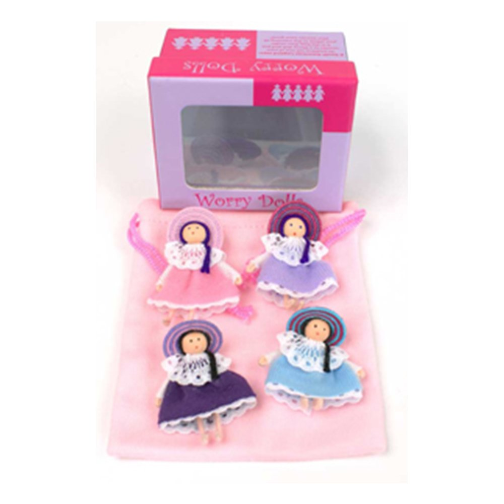 1 X Worry Dolls from Colombia - 4 in a giftbox Personitas PB10