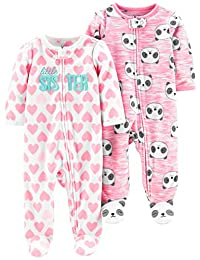 Simple Joys by Carter's Baby-Girls 2-Pack Fleece Footed Sleep and Play Baby and Toddler Sleepers