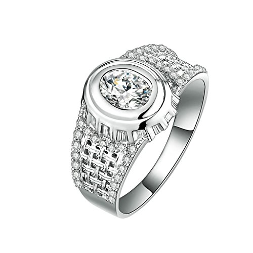 AmDxD Jewelry Silver Plated Men Promise Customizable Rings Wide Oval CZ Size 7
