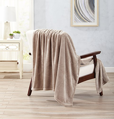 Home Fashion Designs Ultra Velvet Plush Super Soft Oversize Throw Blanket. Lightweight, Warm Blanket in Solid Colors. Marlo Collection Brand. (Taupe)