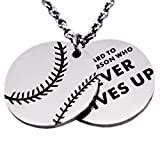 N.egret Hall of Fame Pendant Necklace Chain Sports Jewelry Inspirational Quote Baseball Gift teens Daughter Son
