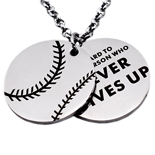 Pendant Box Pleat - N.egret Hall of Fame Baseball Pendant Necklace Chain Sports Jewelry Inspirational Quote Baseball Gift Teens Daughter Son (Baseball)