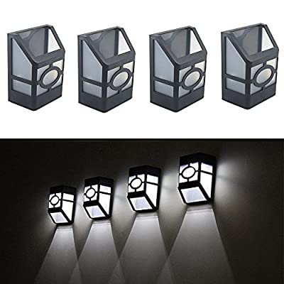 4Pcs. Solar Power Wall Mount LED Light Outdoor Home Garden Path Fence Yard Lamp White