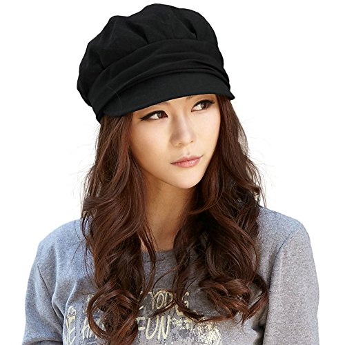 SIGGI Wool Newsboy Cabbie Beret Cap for Women Cloche Visor Bill Winter Hat Black