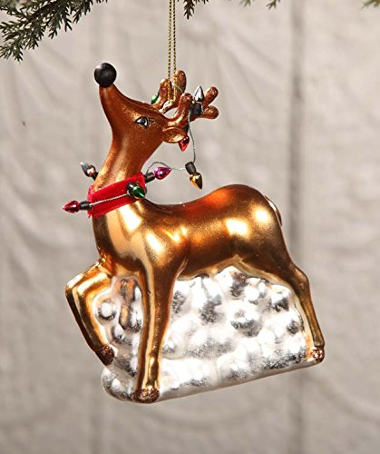 (Bethany Lowe Glass Reindeer Ornament with Lights DA2493)