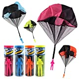 YIFAN Parachute Toy, 4Pcs Tangle Free Parachute Toy Parachute Men No Strings No Batteries Assorted Colors for Kids and Children Rose Yellow Orange Blue