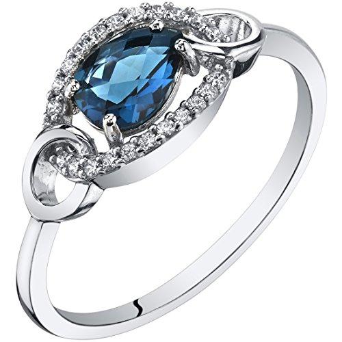 - 14K White Gold London Blue Topaz Link Ring 0.75 Carat Size 8