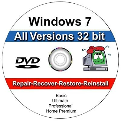 Windows 7 All Versions 32 bit Professional, Home Premium, Ultimate, Basic, Install | Boot | Recovery | Restore DVD Disc Disk Perfect for Install or Reinstall of Windows