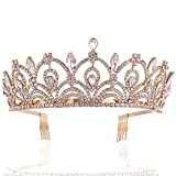 Sppry Women Tiara with Comb - Queen Crystal Crown for Bridal Girls at Wedding Prom Birthday Party, Rose Gold