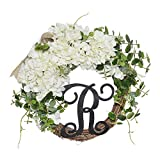 FAVOWREATH 2018 Vitality Series FAVO-W112 Handmade 14 inch White Hydrangea,Burlap Bow,Wild Grass,R Letter for Front Door/Wall/Fireplace Wedding Floral Hanger Nearly Natural Everyday Wreath Home Decor