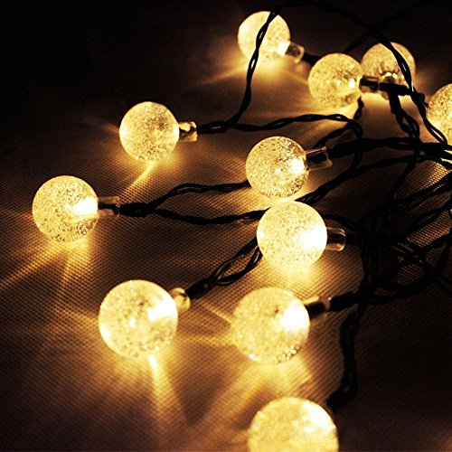 Alfa Lighting Outdoor Solar Lights Strings, LTROP 20ft 30 LED Waterproof Fairy Bubble, Crystal Ball Lights Decorative Globe String Lights for Indoor, Garden, Party and Holiday (Warm White) (Alfa Crystal)