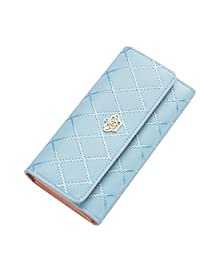 Happy Hours - Luxury Women's and Lady's Clutch Wallet / Fashion Luxury Long Purse Eco PU Leather Card Holder Handbag Bags for Travel Party Prom Shopping Dating(Sky Blue)