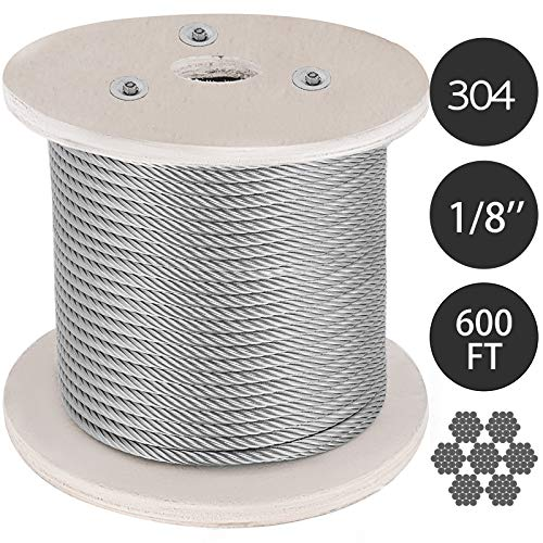 Mophorn 304 Stainless Steel Cable 1/8 Inch 7 X 19 Steel Wire Rope 600Feet Steel Cable for Railing Decking DIY Balustrade (1/8 ()