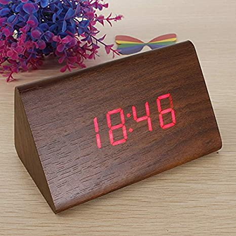 EsportsMJJ Triangular De Madera Led Alarma Reloj Termómetro Digital De Madera-Marrón + Rojo: Amazon.es: Hogar