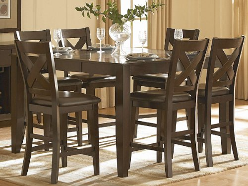 Crown Point 7 PC Counter Height Dining Set by Home Elegance in Merlot