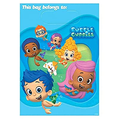 """Bubble Guppies Treat Bags, 8 Pieces, Made from Plastic, Party, 9"""" x 6 1/2"""" by Amscan: Toys & Games"""