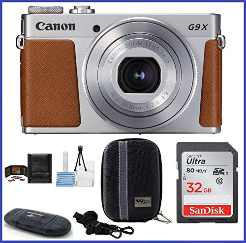 Cheap Canon PowerShot G9 X Mark II Digital Camera (Silver) Bundle includes: 32GB SDHC Class 10 Memory Card, Card Reader, Camera Case & more…