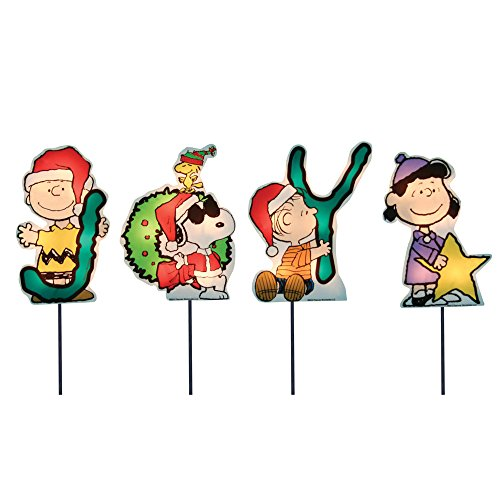 Peanuts Nativity Set Outdoor (ProductWorks 8-Inch Pre-Lit Peanuts Joy Christmas Pathway Markers (Set of)
