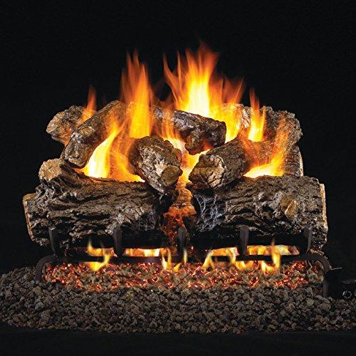 (Peterson Real Fyre 16-Inch Burnt Rustic Oak Gas Log Set with Vented Propane G45 Burner - Manual Safety)