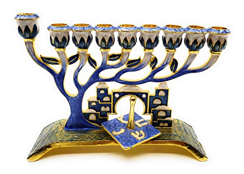 Ayuni Gifts of the World Chanukah Menorah with Removable Dreidel Hand Painted Enamel on Pewter (Blue) ()