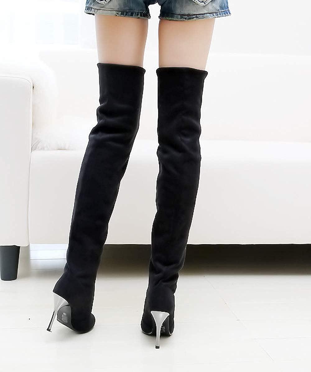 GATUXUS Women Over The Knee High Heel Stretchy Boots