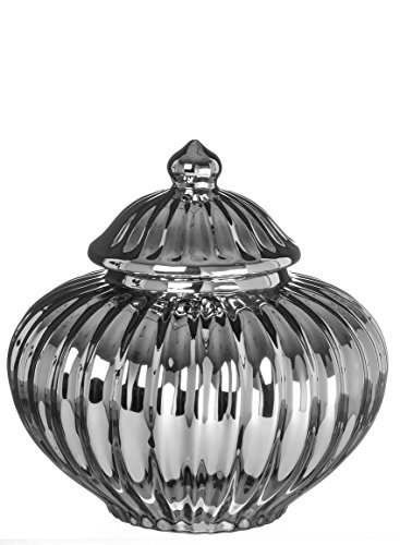 Sullivans CM2796 Covered Pot Home Décor Urn with Lid, Silver, 8 x 8 x 8.25 Inch