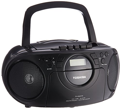 Toshiba Portable Boombox CD/USB Radio Cassette Tape Recorder MP3 Playback Digital Sound AM/FM Radio, Headphone Terminals and Remote - 110V-240V Worldwide Use (TY-CKU310K) by Toshina