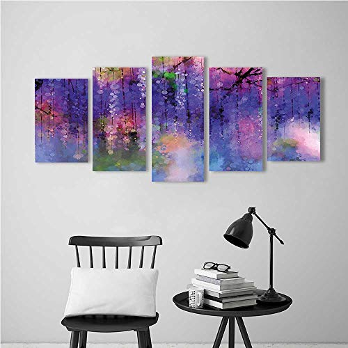 5 Piece Wall Art Painting Frameless Flower Misty Vogue Wisteria Back Tree Branches Defocus Print Violet Pink Posters Wall Decor Gift