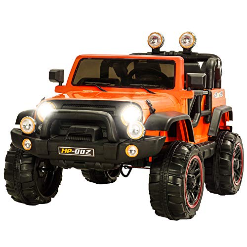 Uenjoy Ride on Cars 12V Children's Electric Cars Motorized Cars for Kids with Remote Control, 3 Speeds, Head Lights, Model HP-002, Orange
