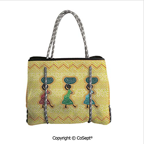 Neoprene Beach Bag,Mosaic Pattern of An African Scene with Women Carrying Food Basket Traditional,for Beach,Picnic(14.9