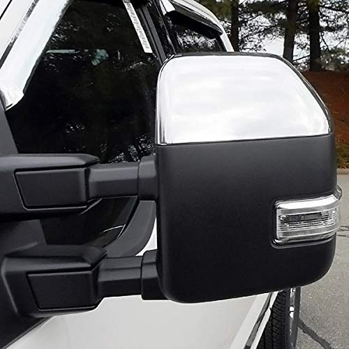 EZ Motoring Chrome Top Half Mirror Cover 4 Door Handle Covers fit 2017-2019 Ford F250 F350 Super Duty NOT fit F150
