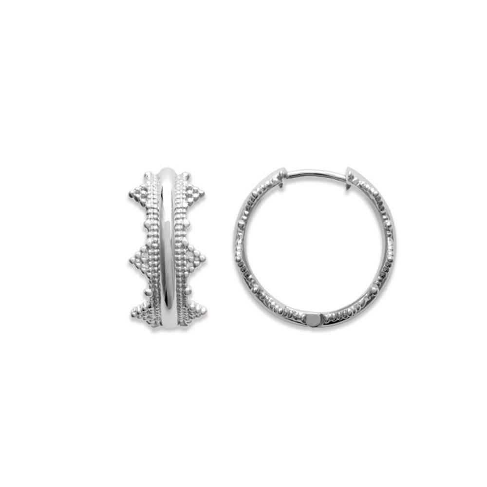 Tata Gisèle pendientes de aro de plata 925/000 Circona diseño corona – incluye bolsita regalo terciopelo