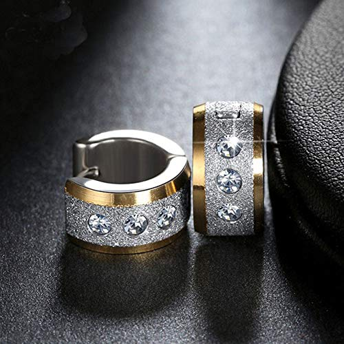 Gbell Clearance! Unisex Punk Stainless Silver Gold Hoop Earrings - Rock Hoop Paved Shiny Couple Clip On Earrings Jewelry for Women Men (Multicolor) ()