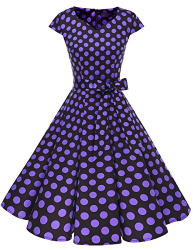 DRESSTELLS Retro 1950s Cocktail Dresses Vintage Swing Dress with Cap-Sleeves Black Purple Dot ()