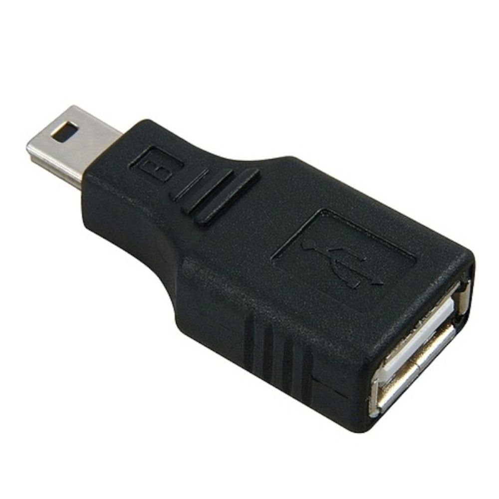 usb female to mini usb male 5 pin adapter converter black ebay. Black Bedroom Furniture Sets. Home Design Ideas