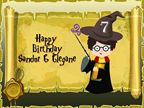 Custom Home Decor Wizard Boy Birthday Poster for Kids - Size 24x36, 48x24, 48x36; Personalized Magician Boy Birthday Banner Wall Décor, Handmade Party Supply Poster Print (Harry Potter Board Game Lego)