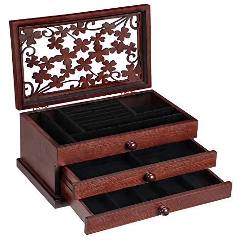 SONGMICS Wooden Jewelry Box with Floral Carving,