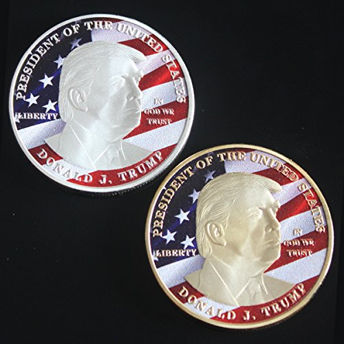 2PCS Set Limited Edition President Donald J. Trump Silver and Gold Plated Novelty 40mm Commemorative Coin