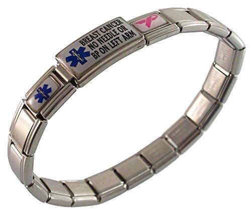- Gadow Jewelry Breast Cancer No Needle or BP on LEFT Arm Medical ID Alert Italian Charm Bracelet Blue