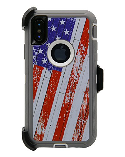 WallSkiN Turtle Series Cases for iPhone Xs/iPhone X (Only) Tough Protection with Kickstand & Holster - 52 (American Flag/White)
