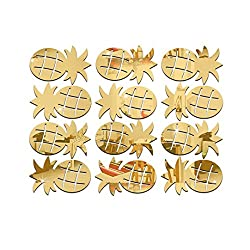 Dacawin 3D Pineapple Room Decoration Wall Stickers Butterfly Fridge Home Decoration (Gold)