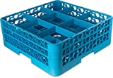 Carlisle RG9-314 OptiClean 9-Compartment Glass Rack w/ 3 Extenders, Polypropylene, 20.88'' Length, 20.88'' Width, 8.72'' Height, Blue