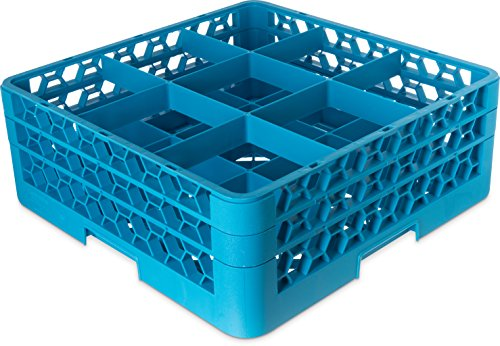 Carlisle RG9-314 OptiClean 9-Compartment Glass Rack w/ 3 Extenders, Polypropylene, 20.88'' Length, 20.88'' Width, 8.72'' Height, Blue by Carlisle