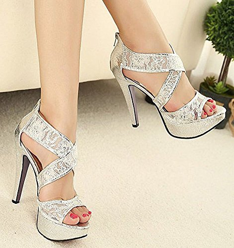 6ffcc18a1c6 free shipping Getmorebeauty Women s Ankle Strappy Sandals Hollow Lace Flower  Glitter Bridal Shoes