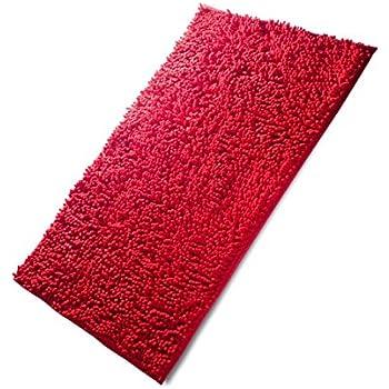 "Drhob 2Pcs Burgundy Red 17""x 24"" Non Slip Coral Velvet Bathmat Absorbent Bath Rugs Memory Foam Bath Mats with Anti-Skid Bottom"