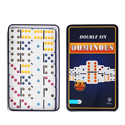 Color Dominoes Game Set, DOUBLEFAN Double 6 Color Dot Dominoes with Collector Tin, Set of 28 pcs Double Six Dominoes Tin