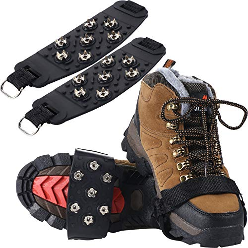 2 Pairs Traction Cleats Ice Snow Grips 7 Crampons Spikes Anti-Skid Stainless Steel Spikes for Shoes Boots Hiking Ice…
